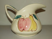 Rare Vintage Early Hand Signed Purinton Pottery Pitcher W/ Hand Painted Fruit