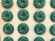 Vintage Buttons - 24 Jade Green 2-hole Flat Back Pin Wheel 3/4 Casein - France