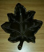 """8.5"""" x 7.25"""" Ceramic Dark Brown Leaf Shaped Candle Holder Candy Dish Plate"""