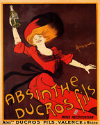 Poster Absinthe Ducros Fils Girl Bottle Drink Cappiello Vintage Repro Free S/h