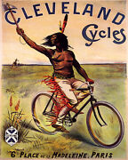 Poster Cleveland Cycles Bicycle American Indian Biking Vintage Repro Free S/h