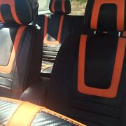 Carbon And Orange Pvc Leather Car Seat Covers Steering Wheel Shift Knob Headrest
