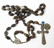 Vintage Religious Brown Glass Or Stone Xtra Medals Tiny Blue Enamel Medal Rosary