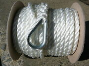 New 3/8 X 100and039 Twisted Nylon Anchor Line White