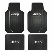 New Jeep Elite Logo All Weather Heavy Duty Rubber Front / Back Floor Mats Set