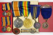 Amazing Ww1 British Canadian Military Commander Officer Service Medal Lot