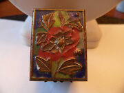 Antique Chinese Brass Hand Painted Cloisonne Enameled Stamp Box