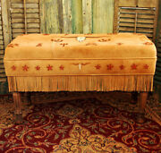 Handmade Deer Suede Hand Painted Longhorn With Old Brands Padded Bench 21andprime Tall