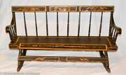 Antique Pennsylvania Mammy Nanny Child Size Rocking Bench Settee Hp Paintd Doves