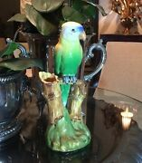 Beautiful Majolica Parrot Double Vase By Famed Ceramist DELPHIN MASSIER France