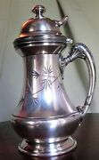 Antique Silver Plated Syrup Pitcher Reed And Barton Patented 212 W/engraved Leaf