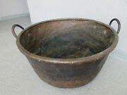 Large 200+ Year Antique Handcrafted Copper Iron Cauldron Apple Butter Kettle/pot