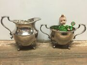 Poole Silver Company 2500 Old English Style Footed Creamer And Open Sugar Bowl