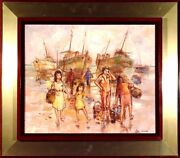 Rare ca.1970 Return of Fishermen Seascape Painting Oil/Canvas/Frame Listed Artis