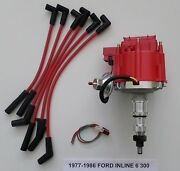 Ford Inline 6 Straight 6 Cyl. 1977-86 300 Hei Distributor And Spark Plug Wires-red