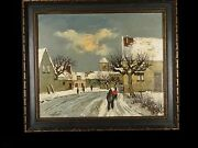 Original Oil Painting By Maurice Lemaitre Framed W French Gallery Stamp On Back