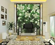 3d Flowers White Decals Wall Paper Wall Print Decal Wall Deco Indoor Wall Mural