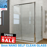 Shower Enclosure Sliding Door Cubicle Side Panel And Trayandwaste 8mm Nano Glass