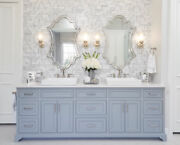 """Vanity Antiqued Silver Champagne Wall Mirror Large 43"""" Modern"""