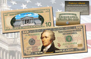 Official Ten Dollar 10 U.s Bill Genuine Legal Tender Currency Colorized 2-sided