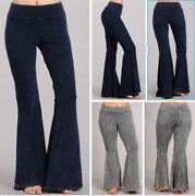 Chatoyant Hippie Bell Bottom Flare Stretch Pants With Pockets Yoga Plus S-3x Usa