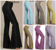 Chatoyant Stone Effect Hippie Bell Bottom Flare Stretch Pants Yoga Plus S-3x Usa