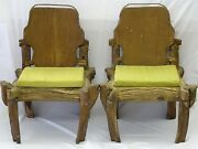 Pair Of Iconic P. Mohanta Art Studio Wood And Hand Forged Metal Sculptural Chairs
