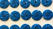 Vintage Buttons - 24 Royal Blue Casein 2-hole Wheel 7/8 Buttons Made In France