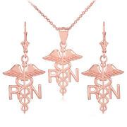 14k Rose Gold Medical Registered Nurse Pendant Necklace And Matching Earrings
