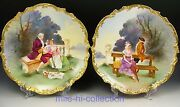 Pair Of Limoges Hand Painted Courting Scenes Chargers Plaques