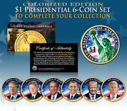 Living Presidents 2020-21 Presidential 1 Us Dollar Colorized 2-sided 6-coin Set
