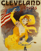 Poster Cleveland Cycles Girl Riding Bicycle American Flag Vintage Repro Free S/h