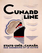 Poster Cunard Line To United States Canada Ship Travel Vintage Repro Free S/h