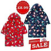 Infants Childrens Boys Christmas Robe Dressing Gown Novelty Xmas Sale Clearance