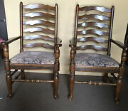 One+ To 22 Ethan Allen Royal Charter Wood Antique Arm Chairs Oak Ladderback