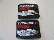 Evinrude Racing Patch Pair 2 4 X 2 3/4 Red / Black / White / Blue Marine Boat