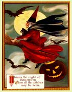 Poster Halloween Cat Bats Full Moon Witch Broom Flying Vintage Repro Free S/h