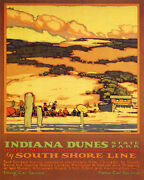 Poster Indiana Dunes State Park Beach South Shore Line Usa Vintage Repro Free Sh
