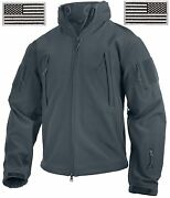 Gun Metal Gray Special Ops Soft Shell Tactical Jacket Coat And Usa Flag Patches