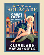 Aquacade Great Lake Exposition Starfish Cleveland Vintage Poster Repro Free S/h