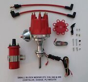 Small Cap Small Block Mopar 318, 340 And 360 Red Hei Distributor + Red 45k Coil