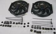 Dual 10 Heavy Duty Black S-blade Electric Radiator Cooling Fans W/ Mounting Kit