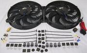 Dual 14 Universal Electric Radiator Cooling Fans W/ Thermostat And Mounting Kit