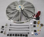 16 Inch Chrome Electric S-blade Cooling Fan + Relay Thermostat And Install Kit