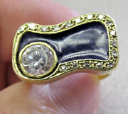 Unique Blue Enamel And Diamonds And Clear Stone Ring 18k Gold Size 8 Make Offer