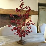 75 Cm Artificial Red Berry Tree Christmas Decoration Table Top Vintage Chic