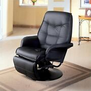 Bowery Hill Faux Leather Swivel Recliner In Black