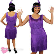 Deluxe Purple Fringe Flapper Fancy Dress Adult Charleston Costume 1920and039s 1930and039s