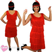 Deluxe Red Fringe Flapper Fancy Dress Adult Charleston Costume 1920and039s 1930and039s