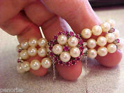 Beautiful 3 Row Pearl Bracelet 14k White Gold Ruby Clasp 6 Inch 6.5 Mm